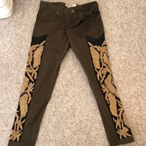 Miss Me Olive Green Feather-Embroidered Pants